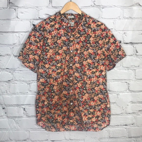 J. Crew Men's Floral Short Sleeve Button Down Collared Shirt - Size Large